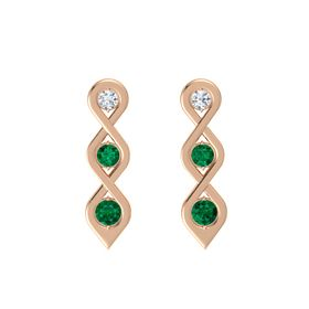 Round Emerald 14K Rose Gold Earring with Diamond and Emerald
