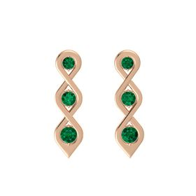 Round Emerald 14K Rose Gold Earrings with Emerald