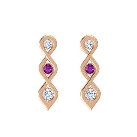 Round Rhodolite Garnet 14K Rose Gold Earring with Diamond