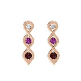 Round Rhodolite Garnet 14K Rose Gold Earring with White Sapphire and Red Garnet