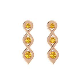 Round Citrine 14K Rose Gold Earring with Citrine