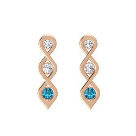 Round White Sapphire 14K Rose Gold Earring with Diamond and London Blue Topaz