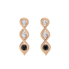 Round White Sapphire 14K Rose Gold Earring with Diamond and Black Diamond