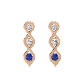 Round White Sapphire 14K Rose Gold Earring with Diamond and Blue Sapphire