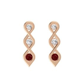 Round White Sapphire 14K Rose Gold Earring with White Sapphire and Ruby