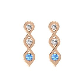 Round White Sapphire 14K Rose Gold Earrings with White Sapphire & Blue Topaz