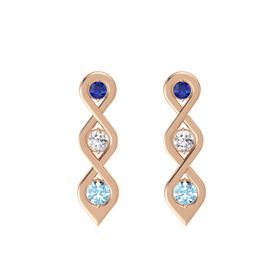 Round White Sapphire 14K Rose Gold Earring with Blue Sapphire and Aquamarine
