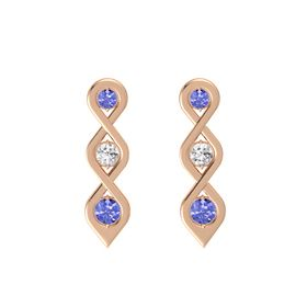 Round White Sapphire 14K Rose Gold Earring with Tanzanite