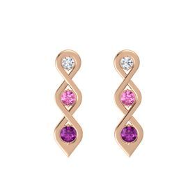 Round Pink Sapphire 14K Rose Gold Earring with Diamond and Rhodolite Garnet