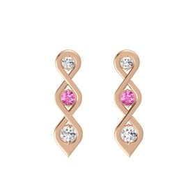 Round Pink Sapphire 14K Rose Gold Earring with White Sapphire