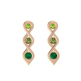 Round Green Tourmaline 14K Rose Gold Earring with Peridot and Emerald
