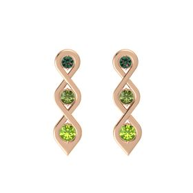 Round Green Tourmaline 14K Rose Gold Earrings with Alexandrite & Peridot