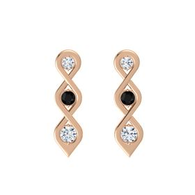 Round Black Onyx 14K Rose Gold Earring with Diamond