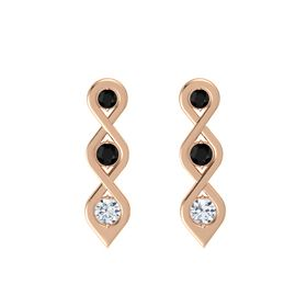 Round Black Onyx 14K Rose Gold Earring with Black Onyx and Diamond