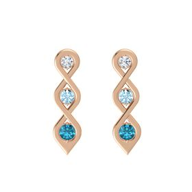 Round Aquamarine 14K Rose Gold Earrings with Diamond & London Blue Topaz