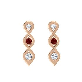 Round Ruby 14K Rose Gold Earring with Diamond