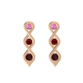 Round Ruby 14K Rose Gold Earring with Pink Sapphire and Red Garnet