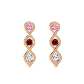 Round Ruby 14K Rose Gold Earring with Pink Tourmaline and Diamond