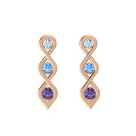 Round Blue Topaz 14K Rose Gold Earring with Aquamarine and Iolite