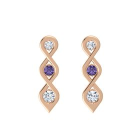 Round Iolite 14K Rose Gold Earring with Diamond