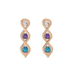 Round Iolite 14K Rose Gold Earrings with White Sapphire & London Blue Topaz