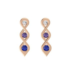Round Iolite 14K Rose Gold Earrings with White Sapphire & Sapphire