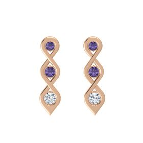 Round Iolite 14K Rose Gold Earring with Iolite and Diamond