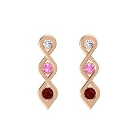 Round Pink Tourmaline 14K Rose Gold Earring with White Sapphire and Ruby