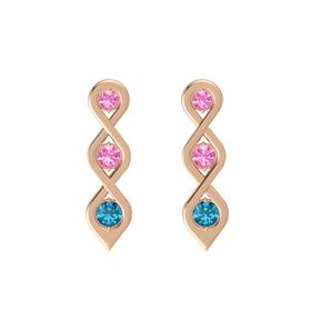 Round Pink Tourmaline 14K Rose Gold Earring with Pink Tourmaline and London Blue Topaz