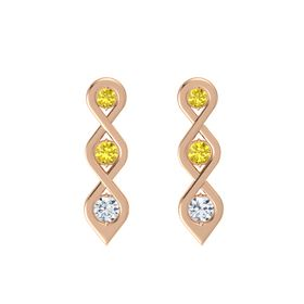 Round Yellow Sapphire 14K Rose Gold Earring with Yellow Sapphire and Diamond