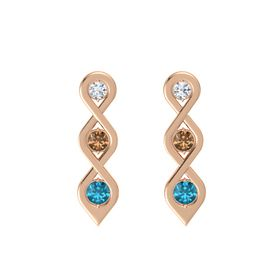 Round Smoky Quartz 14K Rose Gold Earring with Diamond and London Blue Topaz