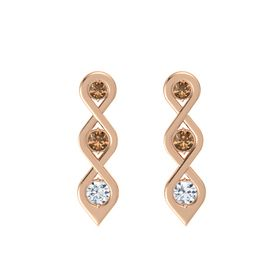 Round Smoky Quartz 14K Rose Gold Earring with Smoky Quartz and Diamond