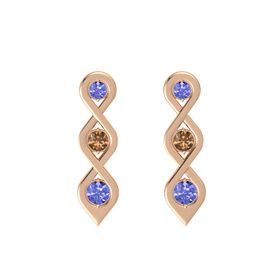 Round Smoky Quartz 14K Rose Gold Earrings with Tanzanite