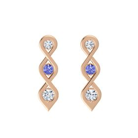 Round Tanzanite 14K Rose Gold Earring with Diamond