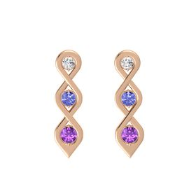 Round Tanzanite 14K Rose Gold Earrings with White Sapphire & Amethyst