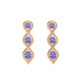 Round Tanzanite 14K Rose Gold Earring with Tanzanite