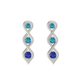 Round London Blue Topaz 14K White Gold Earring with London Blue Topaz and Blue Sapphire