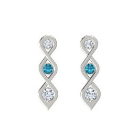 Round London Blue Topaz 14K White Gold Earrings with Diamond