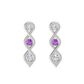 Round Amethyst 14K White Gold Earring with Diamond