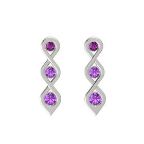 Round Amethyst 14K White Gold Earring with Rhodolite Garnet and Amethyst