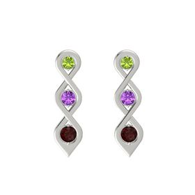 Round Amethyst 14K White Gold Earring with Peridot and Red Garnet