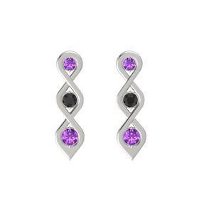Round Black Diamond 14K White Gold Earrings with Amethyst