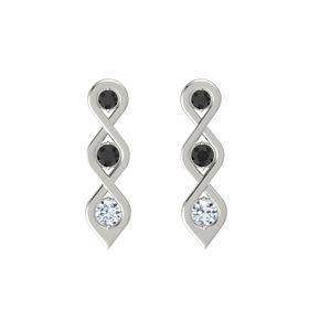 Round Black Diamond 14K White Gold Earring with Black Diamond and Diamond