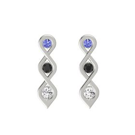 Round Black Diamond 14K White Gold Earrings with Tanzanite & White Sapphire