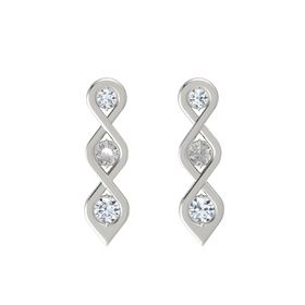 Round Rock Crystal 14K White Gold Earrings with Diamond