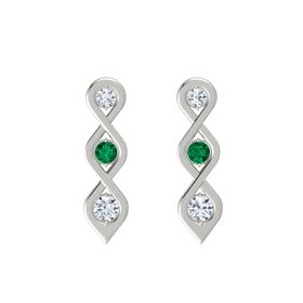 Round Emerald 14K White Gold Earrings with Diamond