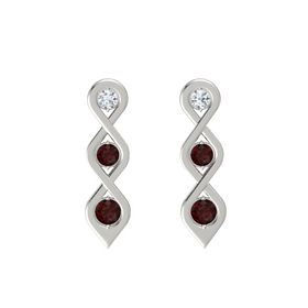 Round Red Garnet 14K White Gold Earring with Diamond and Red Garnet
