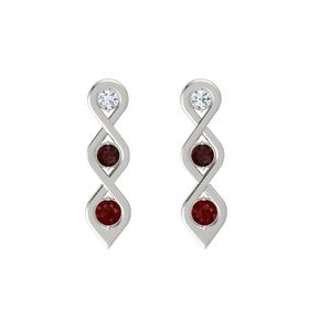 Round Red Garnet 14K White Gold Earring with Diamond and Ruby