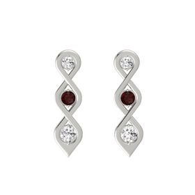 Round Red Garnet 14K White Gold Earring with White Sapphire