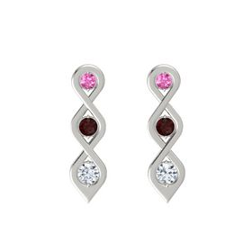 Round Red Garnet 14K White Gold Earring with Pink Sapphire and Diamond